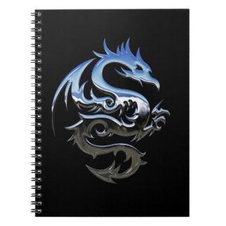 Silver Lucky Dragon Black Spiral Notebook