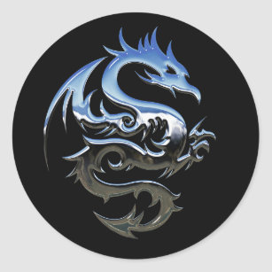 Silver Lucky Dragon Black Stickers