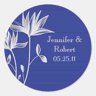 Silver Magnolia Wedding Favor Sticker