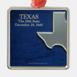 Silver Map of Texas Silver-Colored Square Decoration