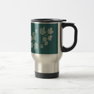 Silver Maple Leaves Bas Relief on Turquoise Stainless Steel Travel Mug