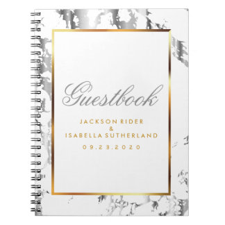 Silver Marble, Gold & White  - Guestbook Notebook