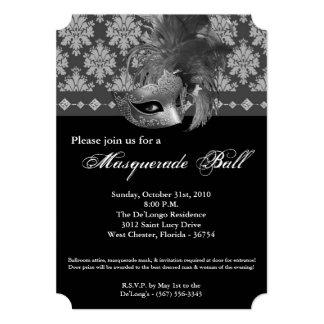 Silver Masquerade Ball Mask Costume Halloween Part 5x7 Paper Invitation Card