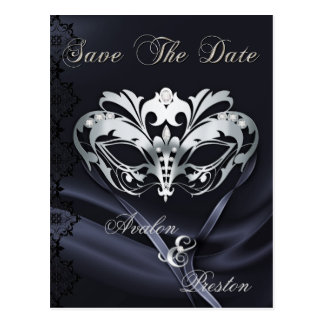 Silver Masquerade Black Jewel Save The Date Postcard