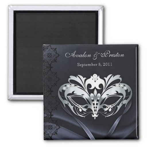 Silver Masquerade Black Save The Date Magnet