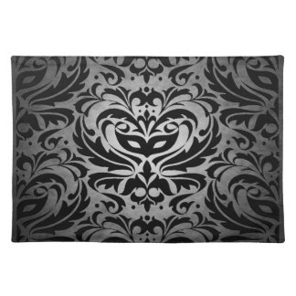 Silver Masquerade Damask Stylish Placemat