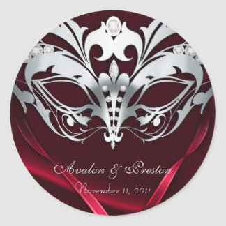 Silver Masquerade Red Wedding Sticker