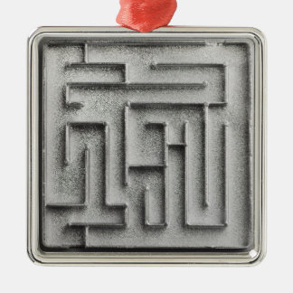 Silver maze christmas ornament