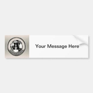 Silver Medal Soccer Monogram Letter A Bumper Sticker