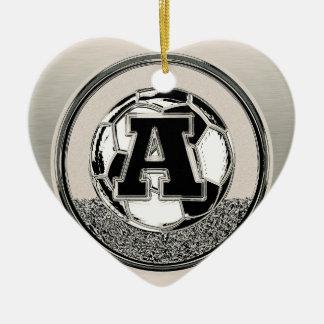Silver Medal Soccer Monogram Letter A Christmas Ornament