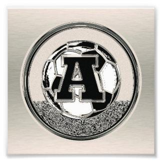 Silver Medal Soccer Monogram Letter A Art Photo
