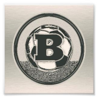 Silver Medal Soccer Monogram Letter B Photographic Print