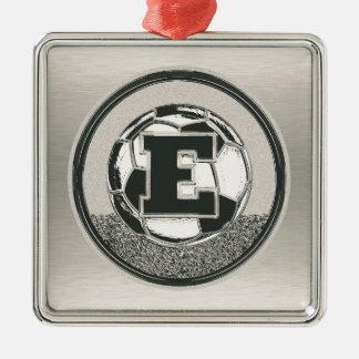 Silver Medal Soccer Monogram Letter E Christmas Ornament