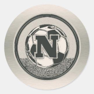 Silver Medal Soccer Monogram Letter N Round Sticker