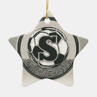 Silver Medal Soccer Monogram Letter S Christmas Ornament