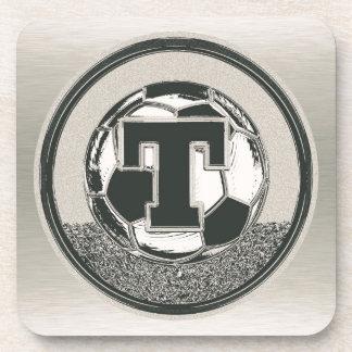 Silver Medal Soccer Monogram Letter T Coaster