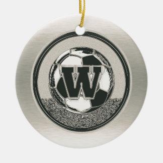 Silver Medal Soccer Monogram Letter W Christmas Ornament