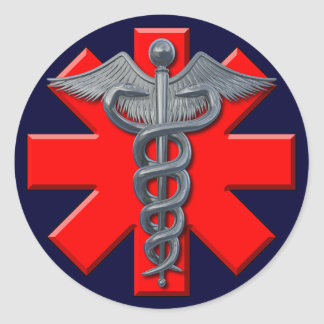 Silver Medical Profession Symbol Round Sticker