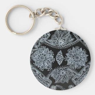 Silver Mehndi henna Key Chain