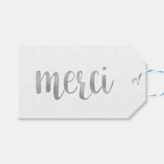 "Silver ""merci"" favor tags, foil, horizontal"