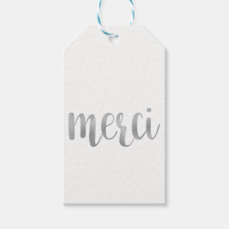 "Silver ""merci"" favor tags, foil, vertical"