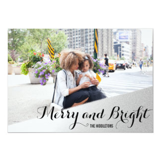 Silver Merry And Bright Calligraphy Holiday Photo Card