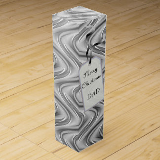 Silver Merry Christmas Dad design Wine Gift Box