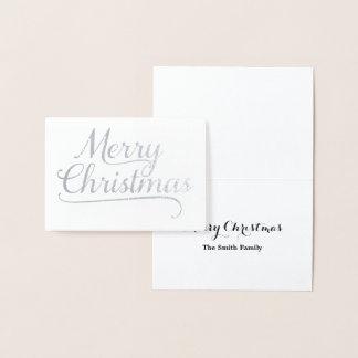 Silver Merry Christmas Word Art Foil Card