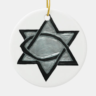 Silver Messianic Star Christmas Ornament