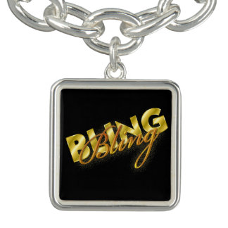 Silver metal charm bracelet word BLING