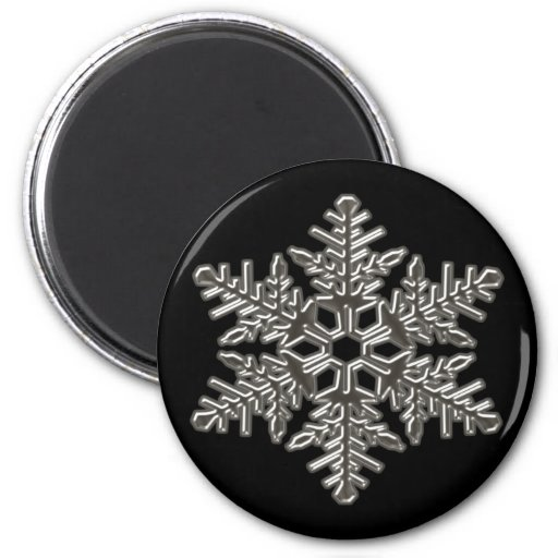 Silver Metal Deco Snow Fall Snowflakes 6 Cm Round Magnet