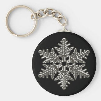 Silver Metal Deco Snow Fall Snowflakes Key Ring