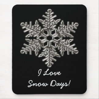 Silver Metal Deco Snow Fall Snowflakes Mouse Pad