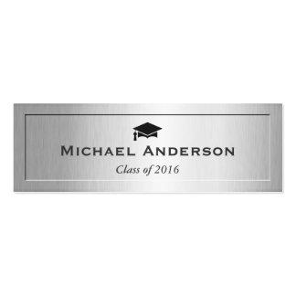 Silver Metal Embossed Senior Graduation Name Card Pack Of Skinny Business Cards