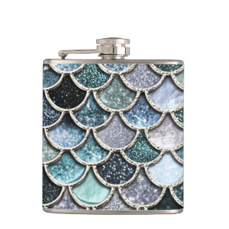 Silver Metal Foil Glitter Mermaidscales Scales Hip Flask