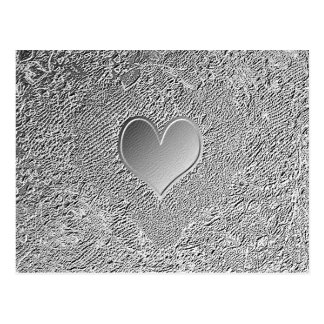 Silver Metal Heart Postcard