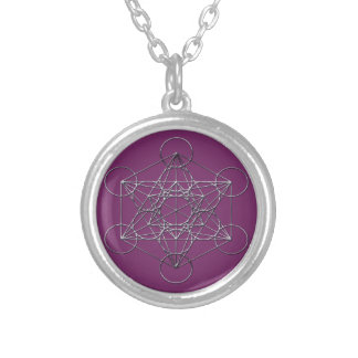 Silver Metal Metatron's Cube Round Pendant Necklace