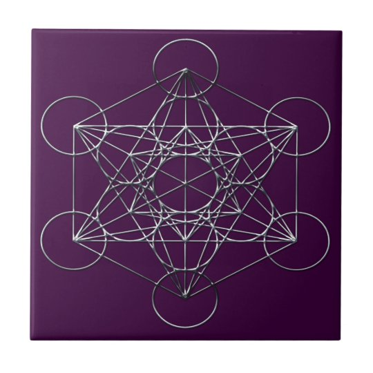 Silver Metal Metatron's Cube Small Square Tile
