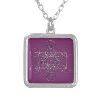 Silver Metal Metatron's Cube Square Pendant Necklace