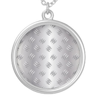 Silver metal round pendant necklace