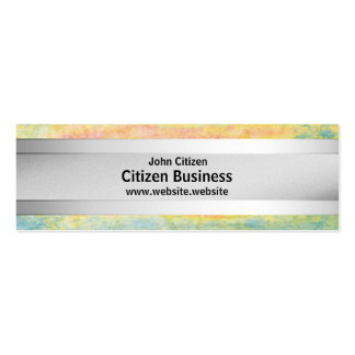 Silver metal stripe on pastel textured background pack of skinny business cards