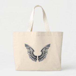 Silver Metal Wings Large Tote Bag