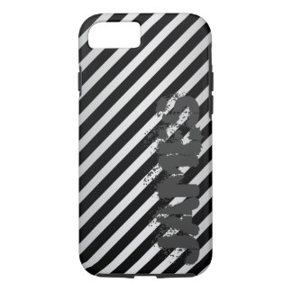 silver metal with diagonal black stripes and name iPhone 8/7 case