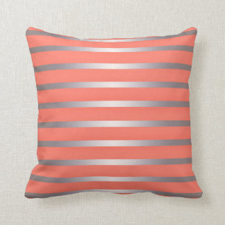 Silver Metalic Sheen Stripes Against Bright Pink Throw Pillow