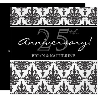 Silver Metallic 25th Wedding Anniversary Party 13 Cm X 13 Cm Square Invitation Card