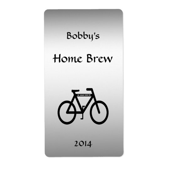 Silver Metallic Bicycle Beer Label Shipping Label