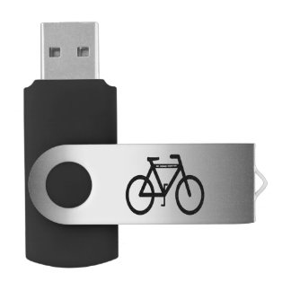 Silver Metallic Bicycle Swivel USB 2.0 Flash Drive
