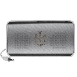 Silver metallic crest speaker