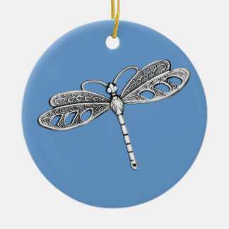 Silver Metallic Dragonfly Christmas Ornament