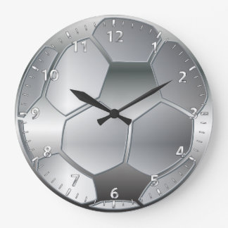 silver metallic effect Soccer ball Star Large Clock